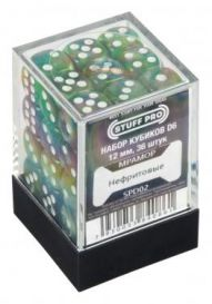 Набор кубиков STUFF PRO D6 под мрамор. Нефритовые 12 мм 36 шт, Китай