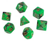 Набор кубиков STUFF PRO для ролевых игр под мрамор. Блестящие зеленые, Китай